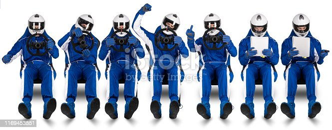 Race or rally driver and co-pilot passenger set collection driving reading the pacenote book on racing bucket seat abstract funny motorsport concept extreme fast rallye isolated on white background