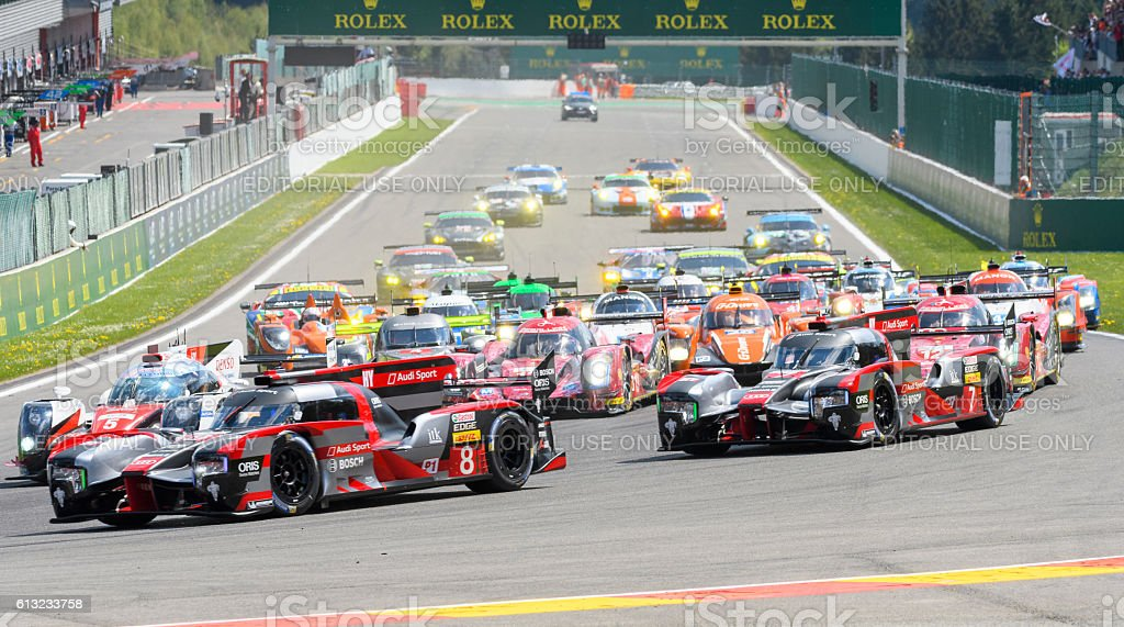 FIA WEC Race start at Spa Francorchamps with Audi stock photo