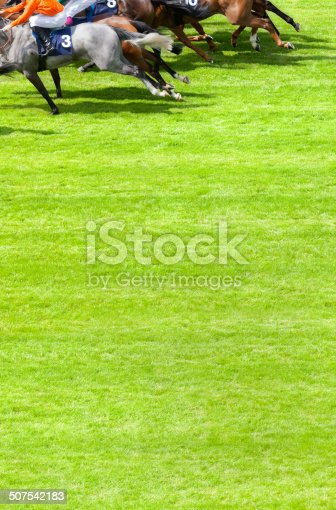 Inspector: All identifying markings have been removed from jockey's silks. Thanks.   Racing to the winning post. Horses at full gallop during a race on the turf at the racecourse. Good copy space.