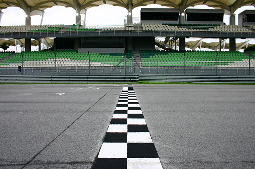 Race Track Finish Line With Empty Seats Stock Photo - Download Image Now