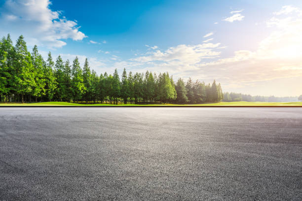 Race track ground and green forest landscape at sunset. stock photo