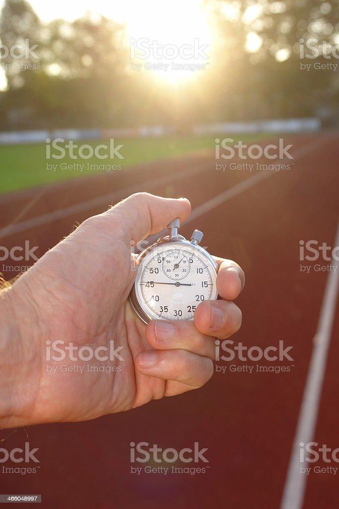 race track stopwatch stock photo