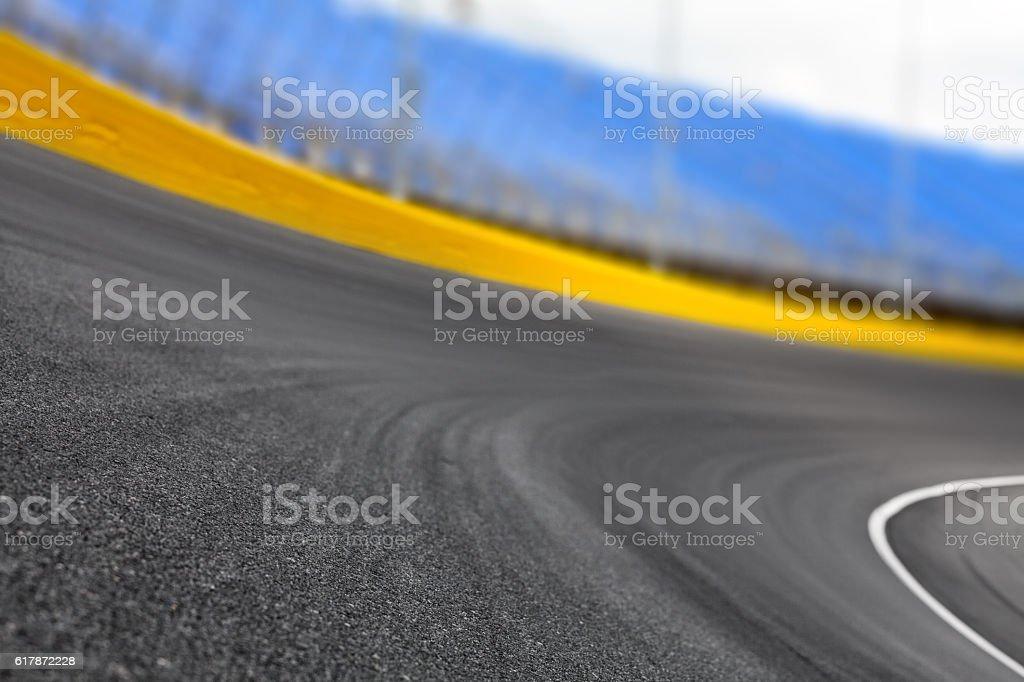 Race track turn on a motor speedway bildbanksfoto