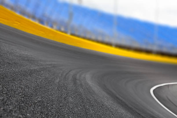 Race track turn on a motor speedway - Photo