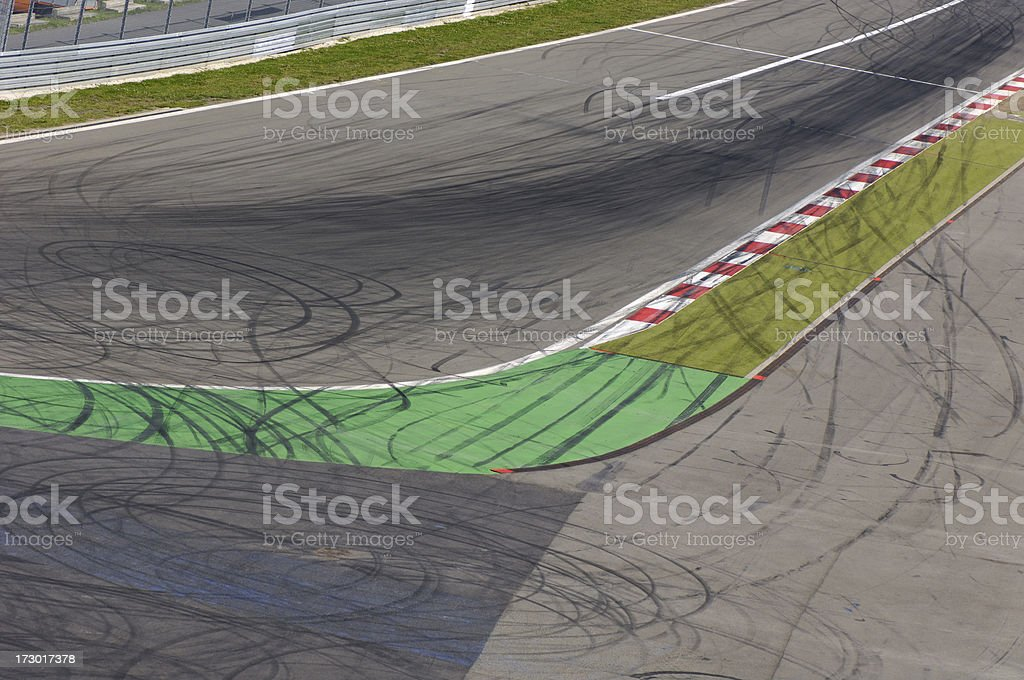 Race track with rubber traces stock photo