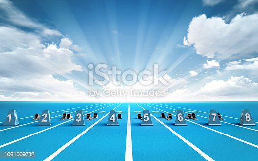 istock race track with starting blocks outside 1061009732