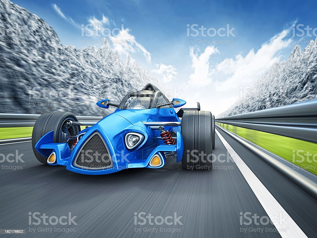 racecar in mountains royalty-free stock photo