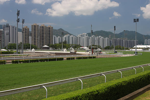 Racecourse Turf track and Dirt track in Racecourse. sha tin stock pictures, royalty-free photos & images