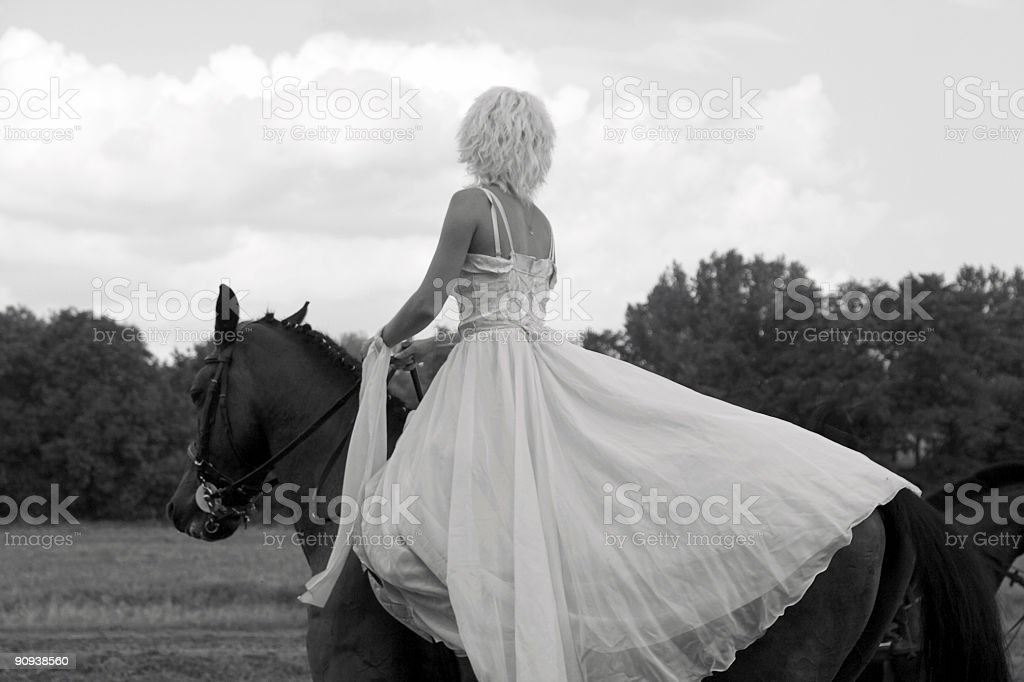Raced Girl in Wedding Dress royalty-free stock photo