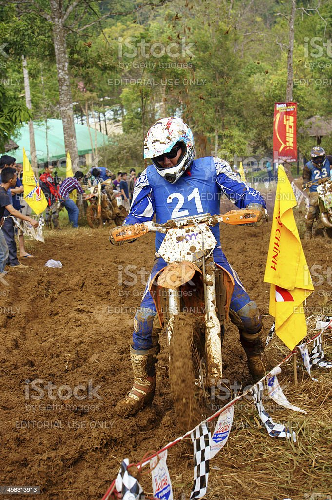 racer  at motorcycle race stock photo