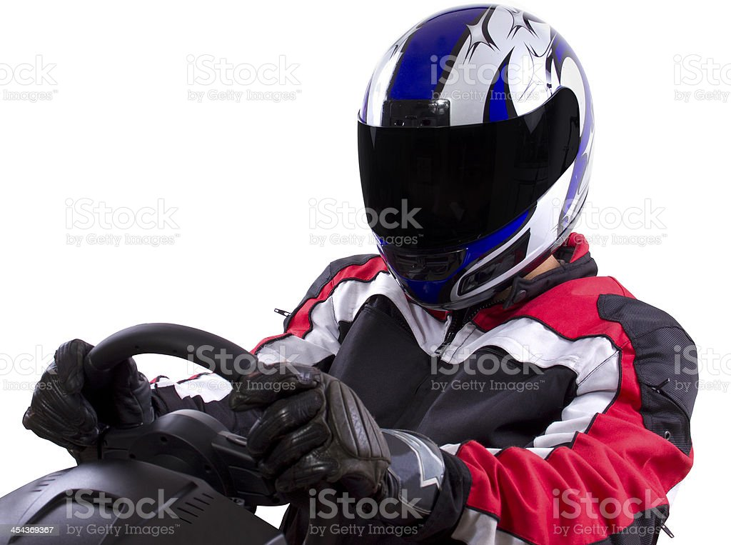 A racer driver in a helmet and a racing suit stock photo