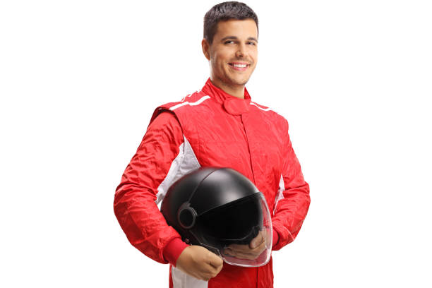 Racer with a helmet looking at the camera and smiling stock photo
