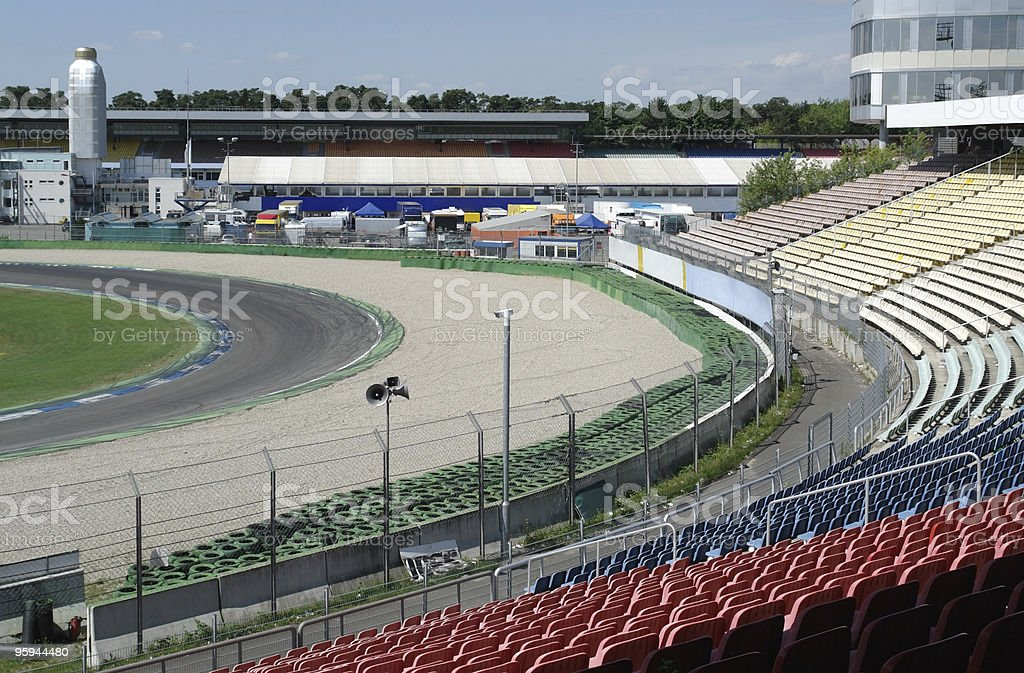 racetrack tribune at summer time stock photo