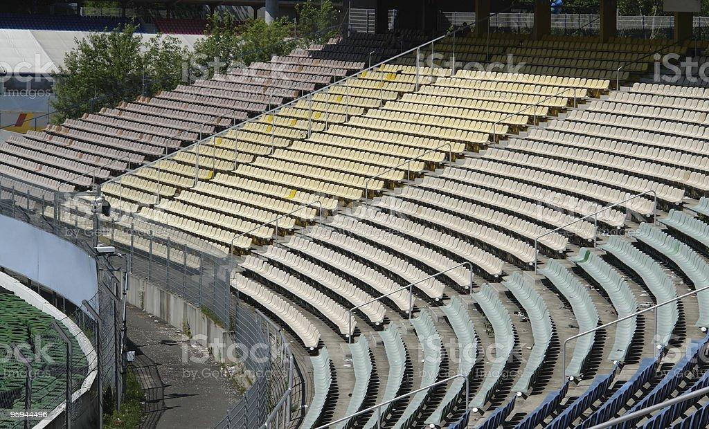 racetrack tribune in sunny ambiance stock photo