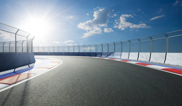 Racetrack with railing stock photo