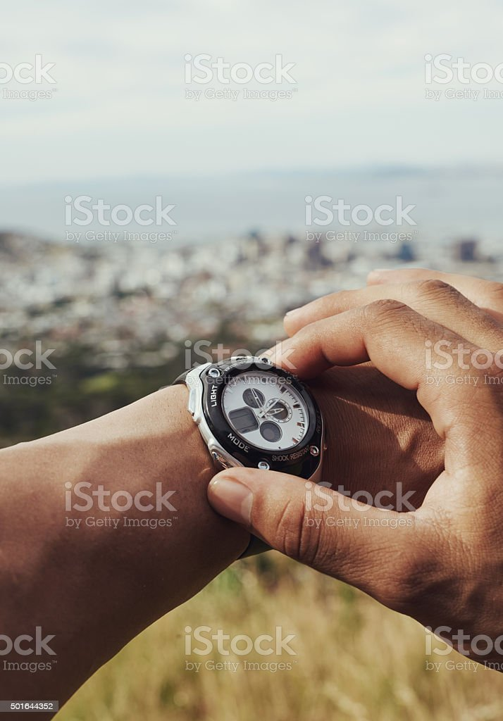 Racing against no one but the clock stock photo