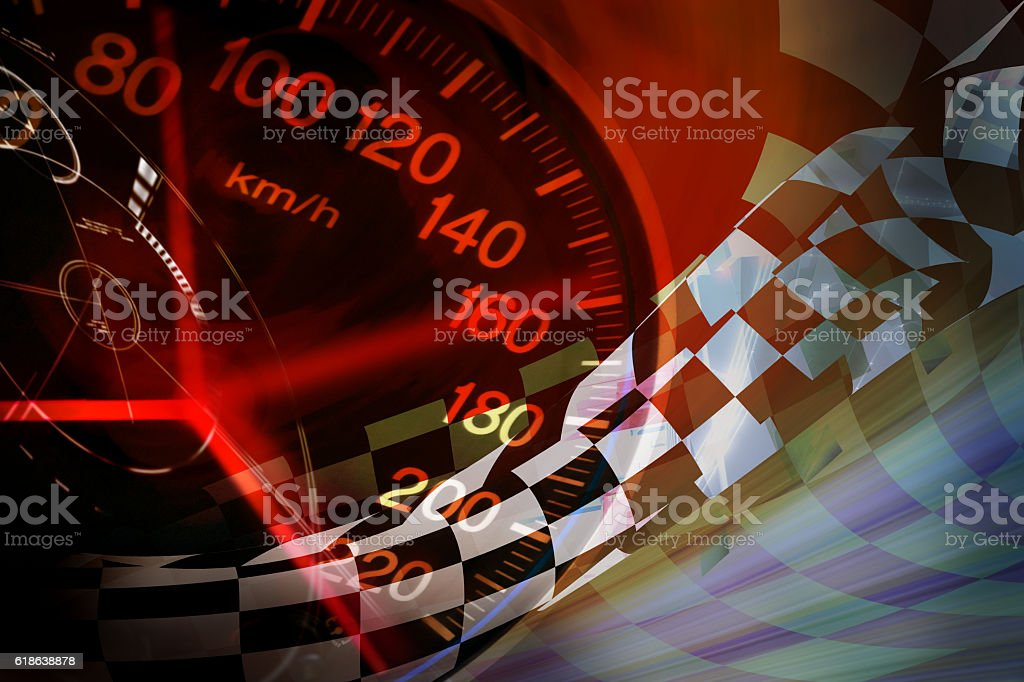 racing background abstract speed racing background with speedometer Checked Pattern Stock Photo