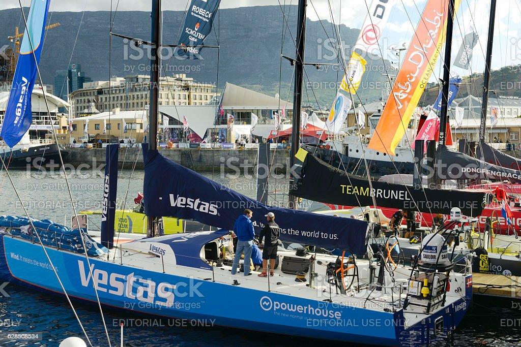 Racing boats taking part in Volvo Ocean Race 2014-2015 stock photo