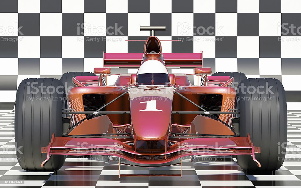 Racing Car on Checkers stock photo