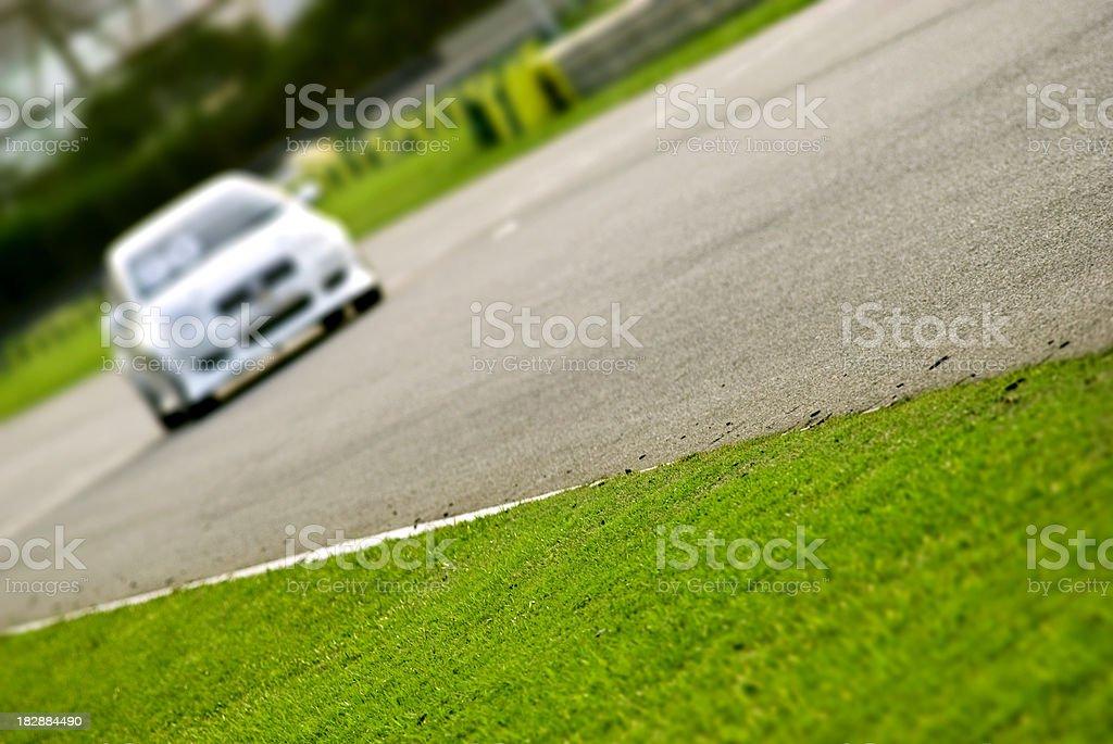 Racing car on track stock photo