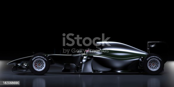 Side view of a racing car against a black background. This car is designed and modelled by myself. Very high resolution 3D render.
