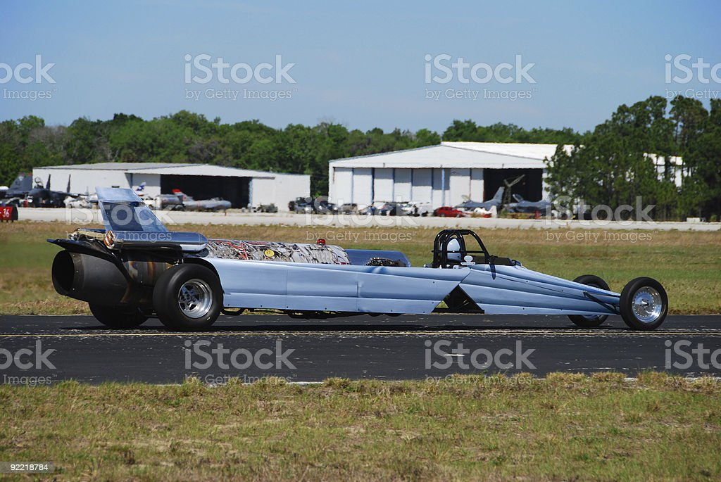 Racing car powered by a jet engine stock photo