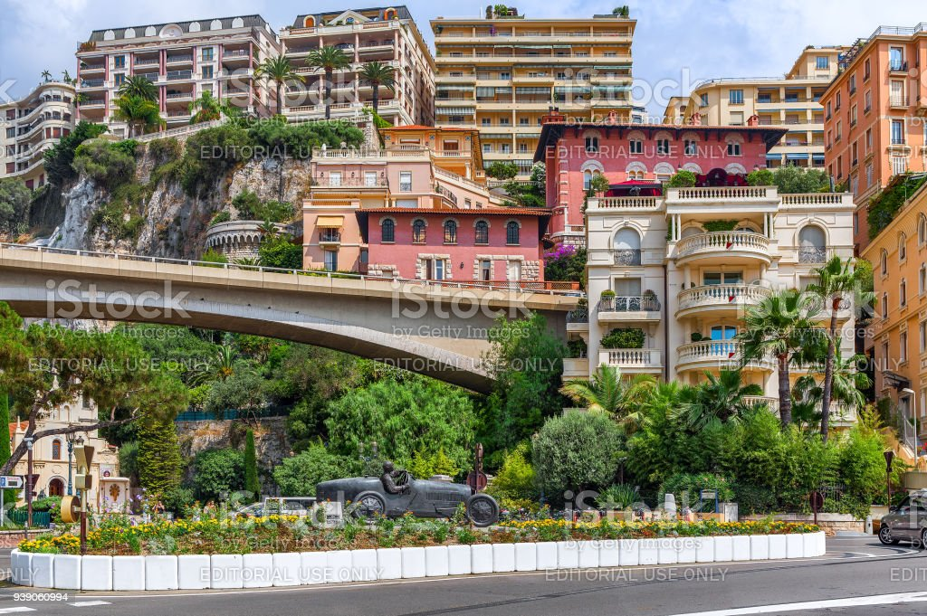 Racing car sculpture in the center of Monte Carlo. stock photo