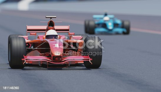 Racing cars on a track. High resolution 3D render.