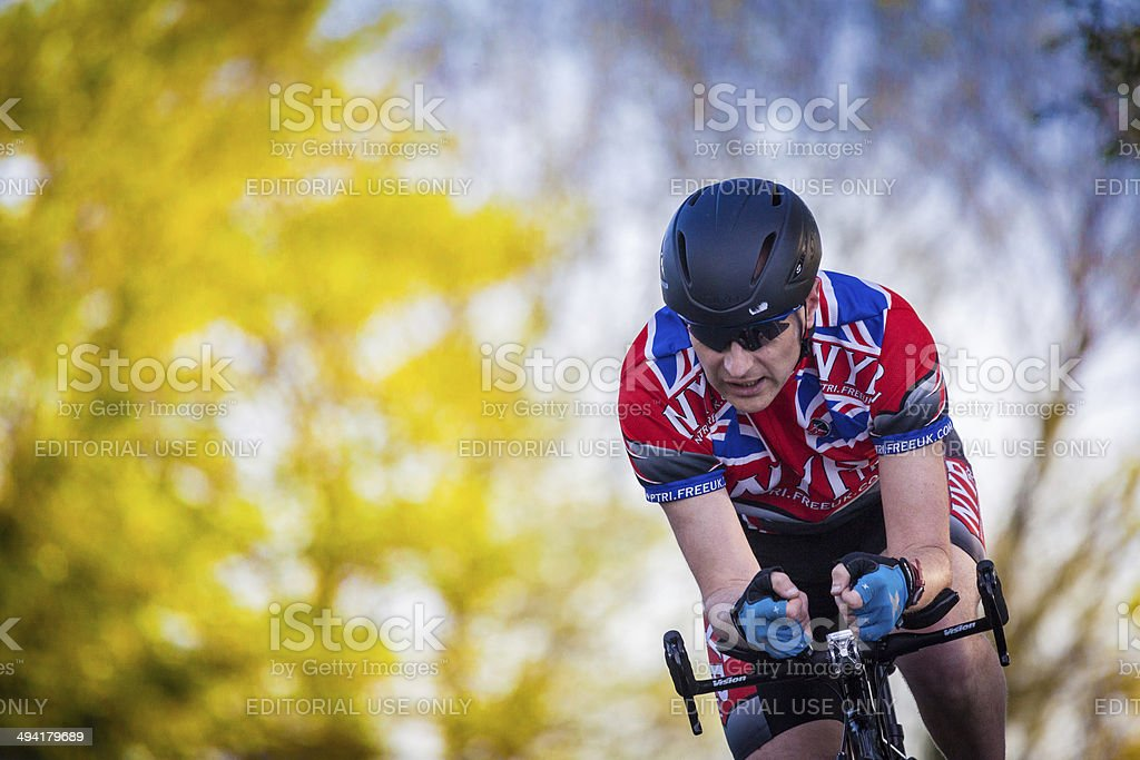 racing cyclist on Yorkshire country road stock photo