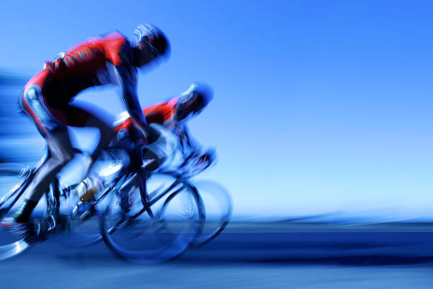 XXL racing cyclists stock photo
