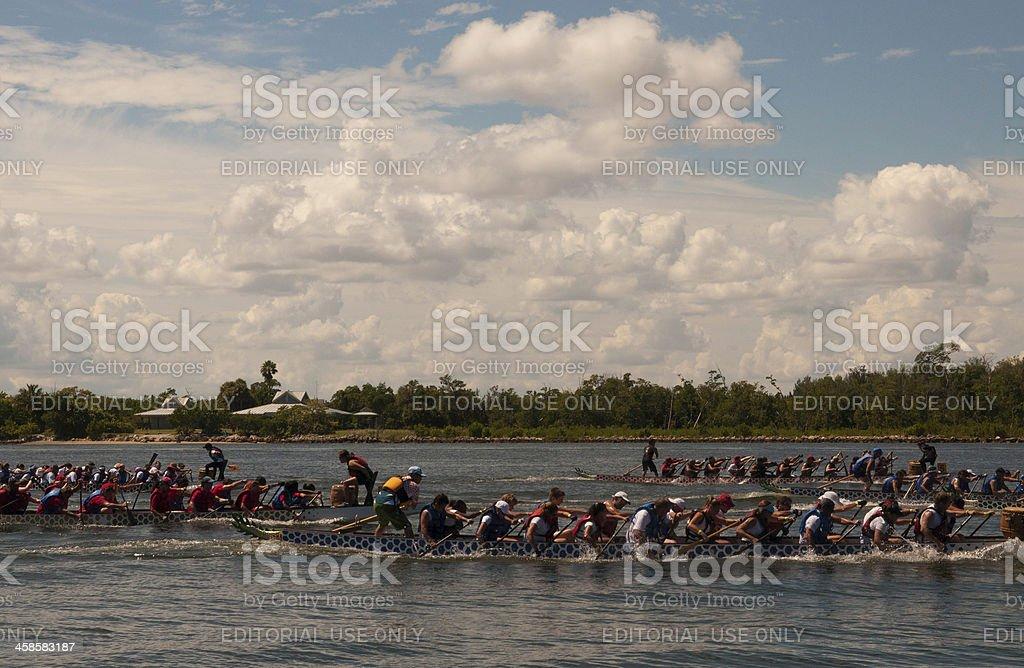 Racing Dragon Boats royalty-free stock photo