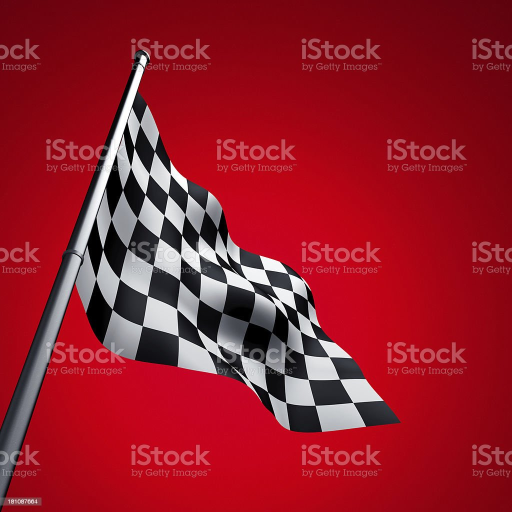 Racing Flag on Red Background stock photo