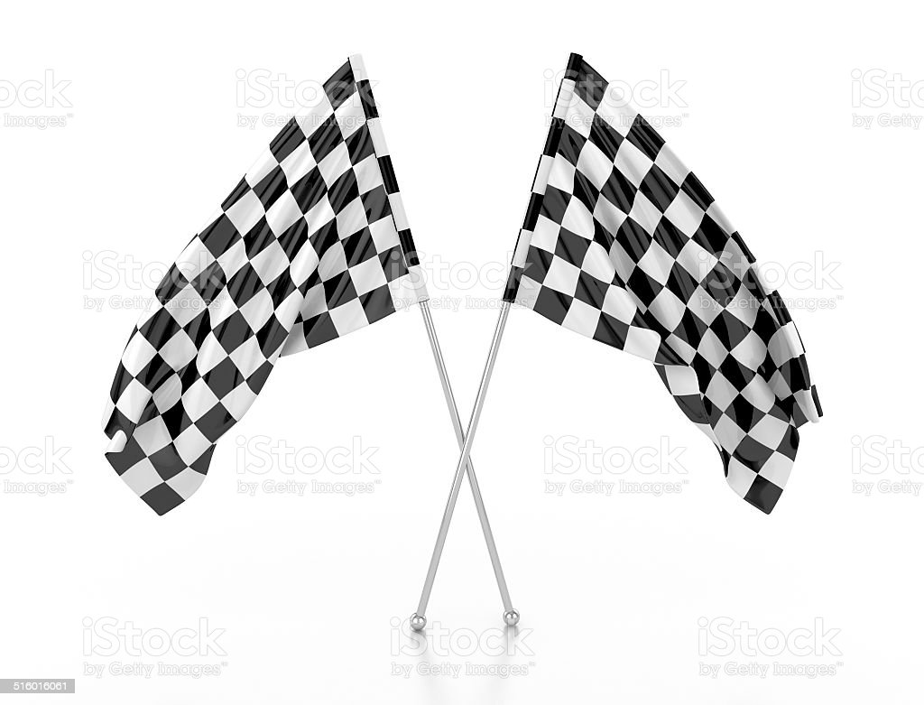 racing flags. 3d illustration stock photo