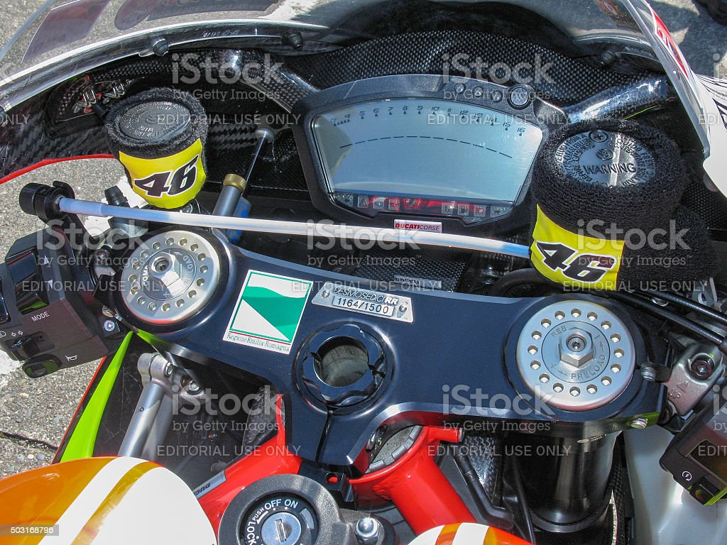 Racing Motorcycle Controls stock photo
