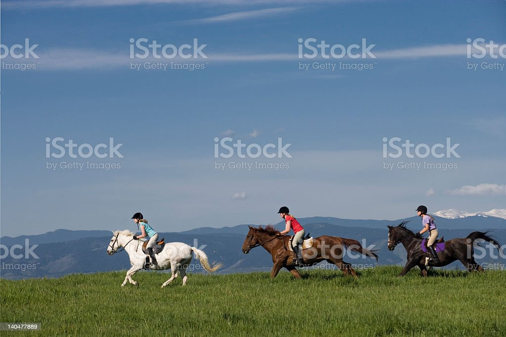 Racing on horseback stock photo
