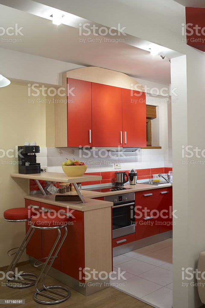 Racing Red Kitchen royalty-free stock photo