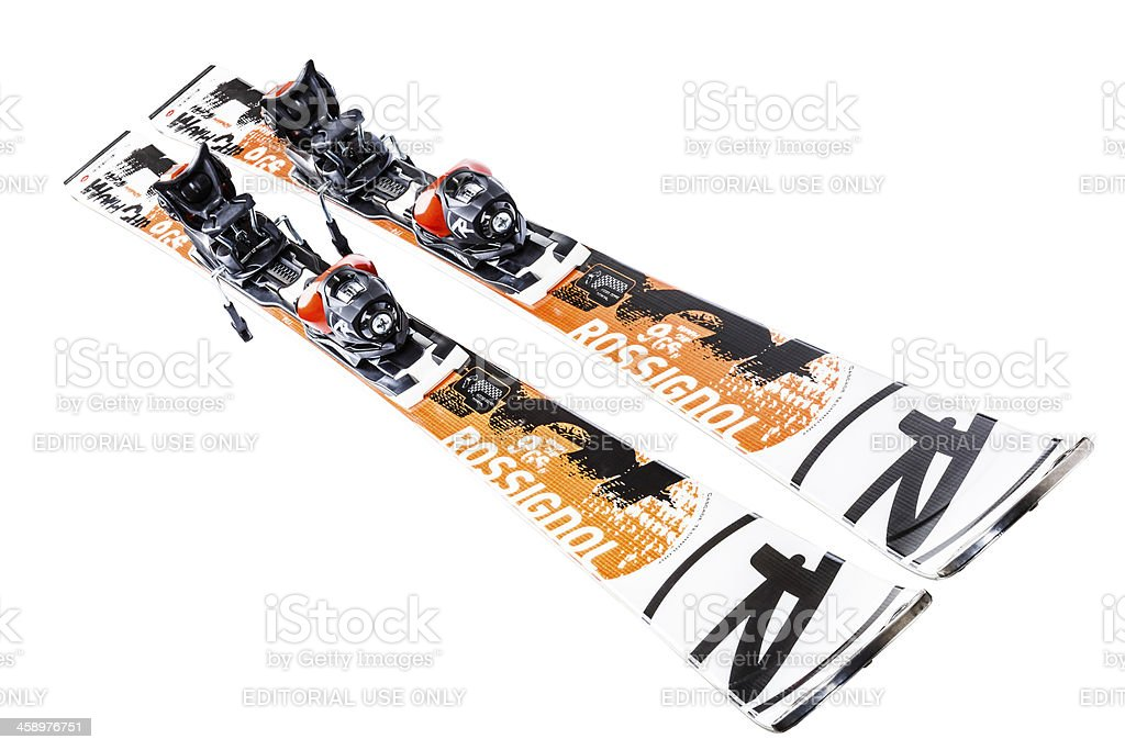 Racing Rossignol skis, isolated on white, clipping path stock photo