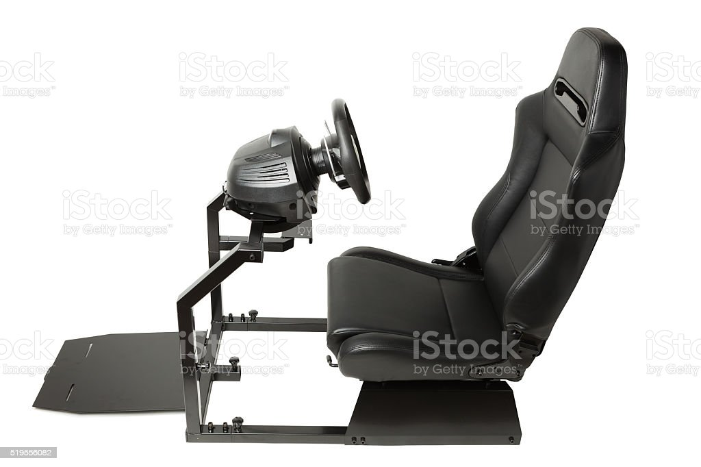 Racing Simulator Cockpit With Seat And Wheel Stock Photo Download Image Now Istock