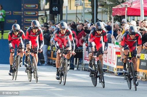 Lido di camaiore,Italy- March 9, 2016:   bmc racing team  during the crono, first race of the 2016 Tirreno adriatica in lido di camaiore, italy on the 9th of march 2016