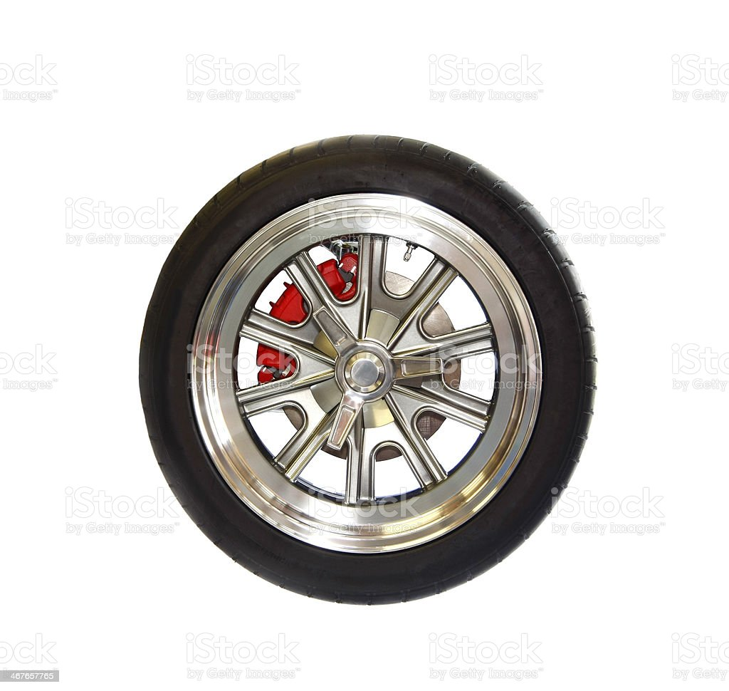 Racing Tire on Magnesium Wheel Isolated on White stock photo