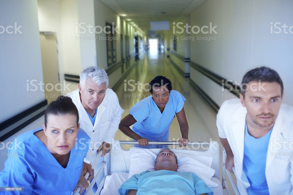 Racing to the operating room royalty-free stock photo