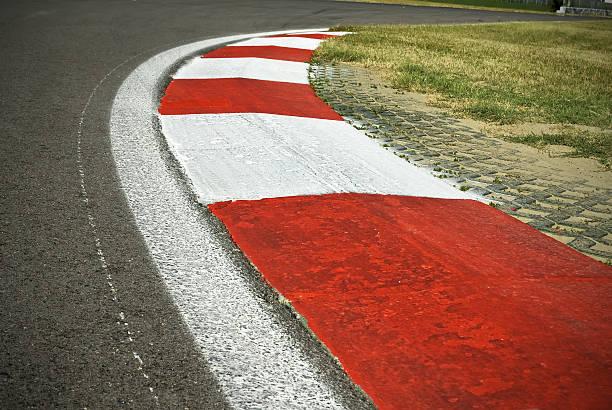 Racing track kerb stock photo