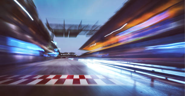 racing track with motion blur stock photo