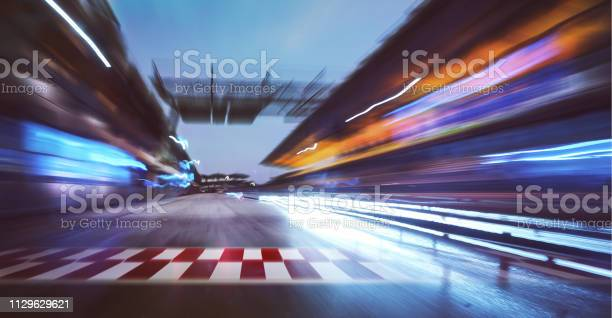 Photo of racing track with motion blur