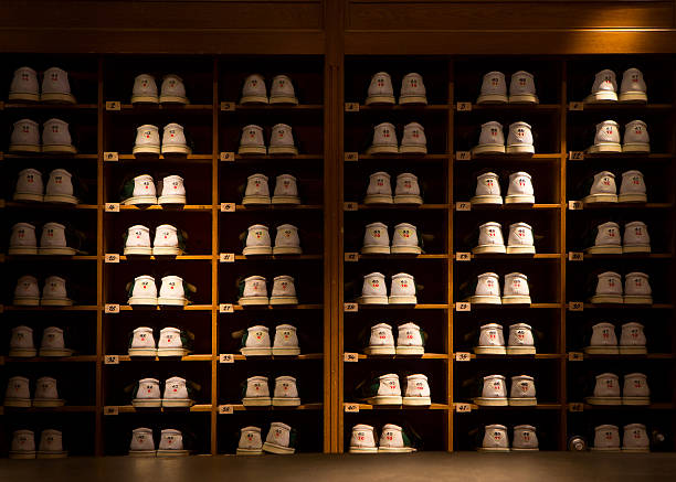 Rack of Bowling Shoes stock photo