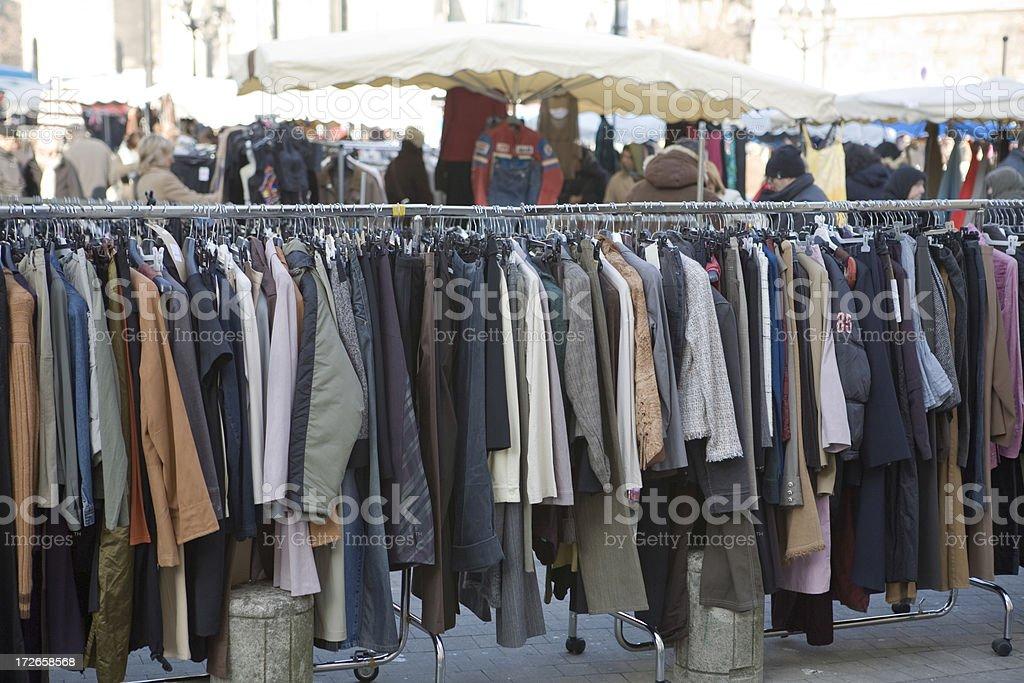 Rack of clothes at Bordeaux flea market royalty-free stock photo