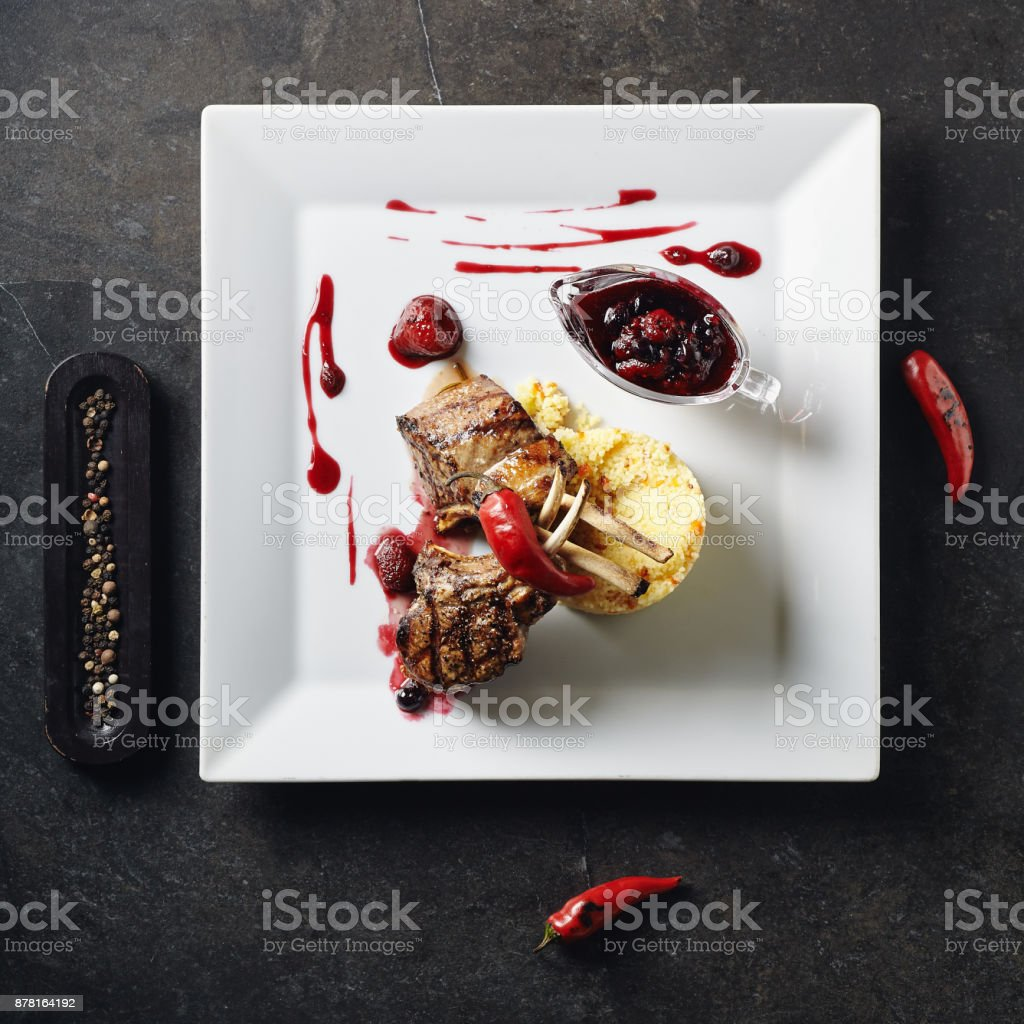 Rack of Lamb Barbecue with Garnish stock photo