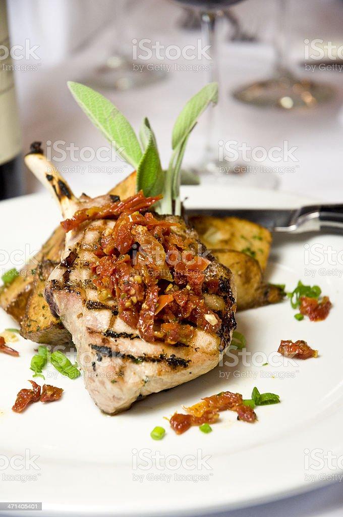 Rack Of Lamb Dinner Tuna Steak Meal With Basil Garnish royalty-free stock photo