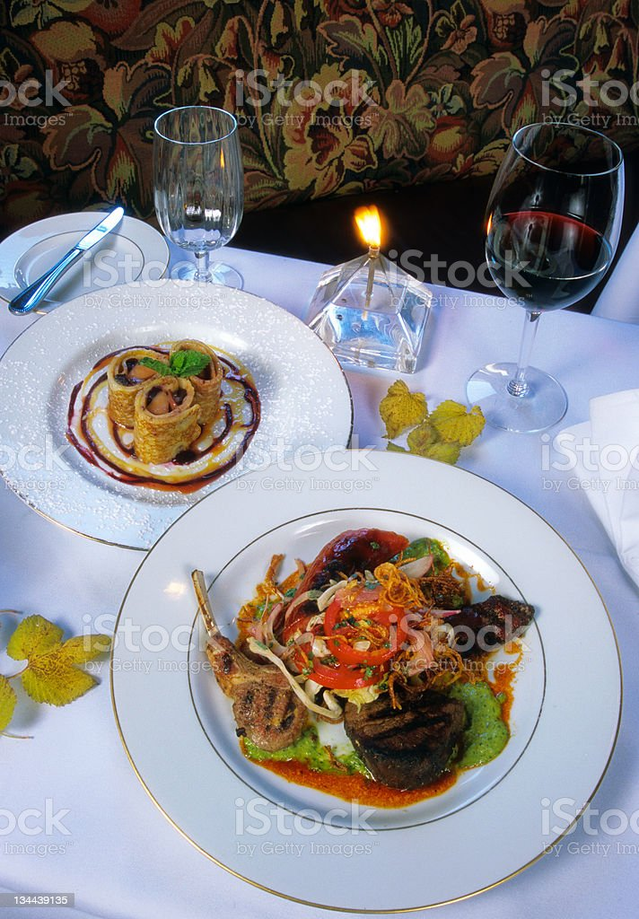 Rack of Lamb Gourmet Entree stock photo