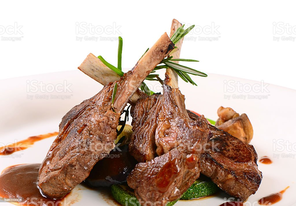 Rack of lamb grill with an a asparagus royalty-free stock photo